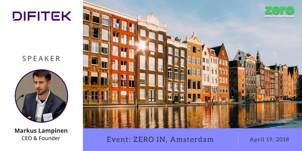Difitek CEO Markus Lampinen at Zero-in Conference in Amsterdam